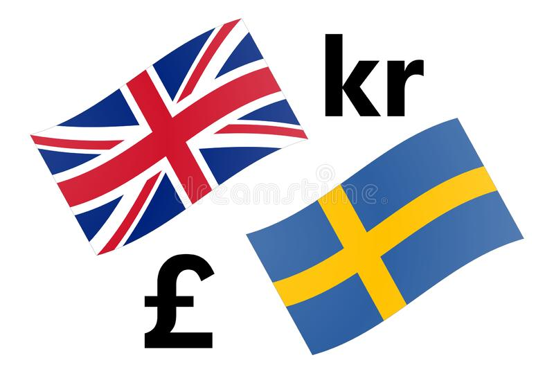 GBPSEK forex currency pair vector illustration. United Kingdom and Swedish flag, with Pound and Krone symbol.  stock illustration