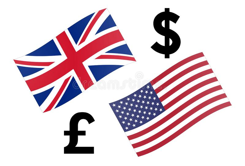 GBPUSD forex currency pair vector illustration. United Kingdom and American flag, with Pound and Dollar symbol.  stock illustration