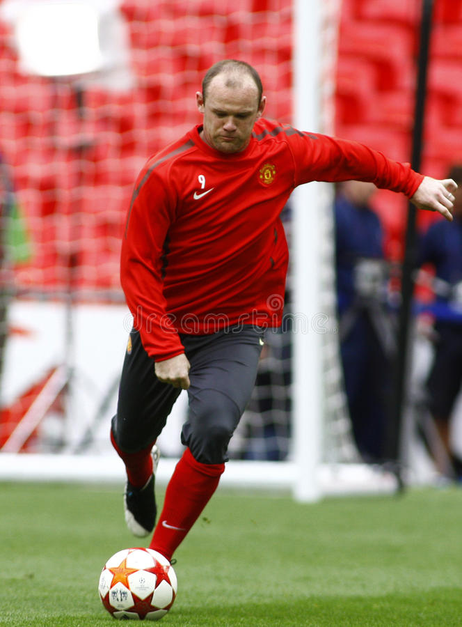 GBR: Football Champions League Final 2011. LONDON, ENGLAND. May 27 2011: Manchester's forward Wayne Rooney during the official training session for the 2011UEFA stock photography