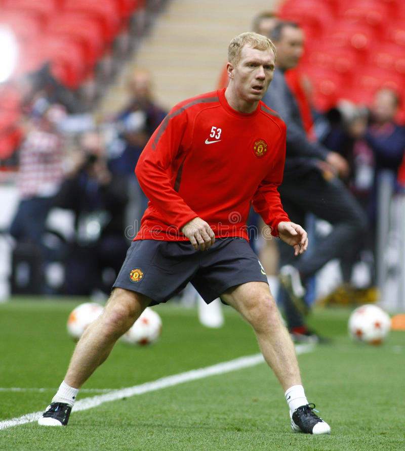 GBR: Football Champions League Final 2011. LONDON, ENGLAND. May 27 2011: Manchester's midfielder Paul Scholes during the official training session for the royalty free stock images
