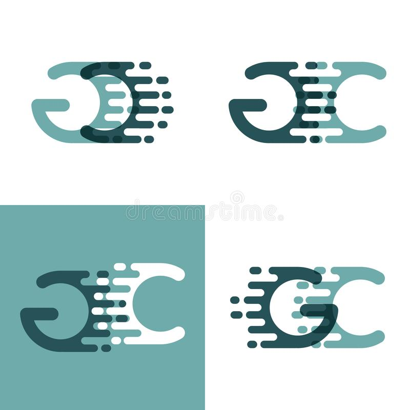 GC letters logo with accent speed in gray and dark green stock illustration