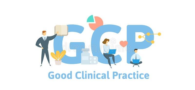 GCP,好临床实践 与主题词、信件和象的概念 平的传染媒介例证 查出在白色 库存例证