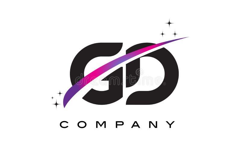 GD G D Black Letter Logo Design with Purple Magenta Swoosh. And Stars stock illustration