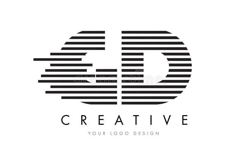 GD G D Zebra Letter Logo Design with Black and White Stripes vector illustration