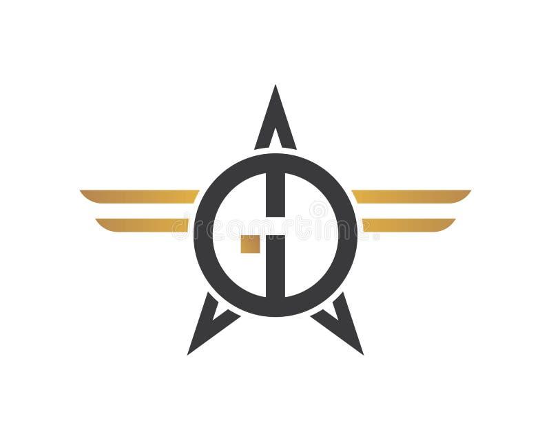 gd, lettera della DG con la stella e vettore dell'illustrazione dell'icona di logo delle ali illustrazione di stock