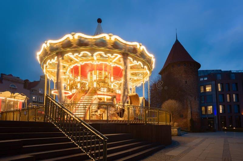 Gdański carousel w wieczór fotografia stock