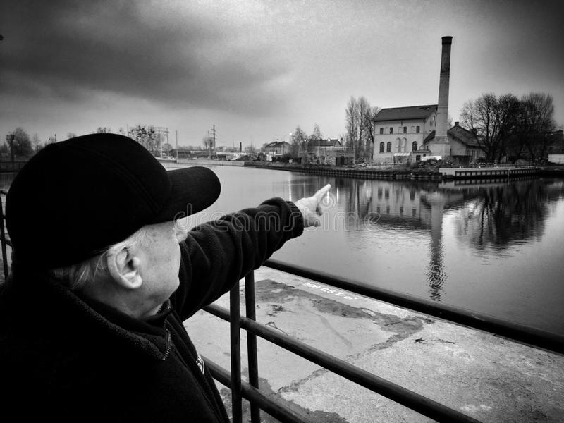 Gdański, stary Grodzki zwiedzać, Artystyczny spojrzenie w czarny i biały zdjęcie royalty free