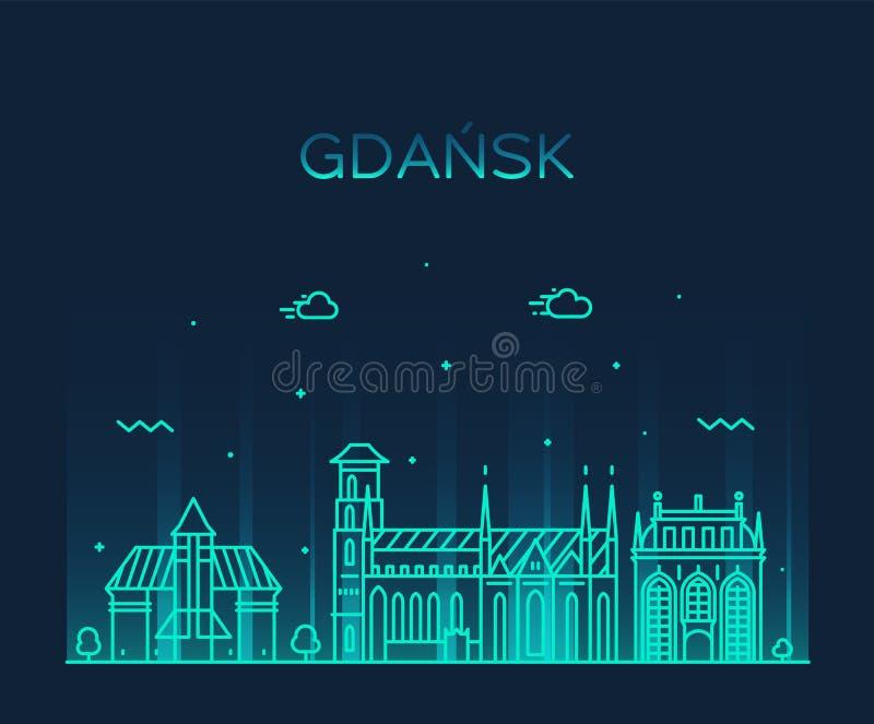 Gdańskiego linia horyzontu Polska dużego miasta wektorowy liniowy styl royalty ilustracja