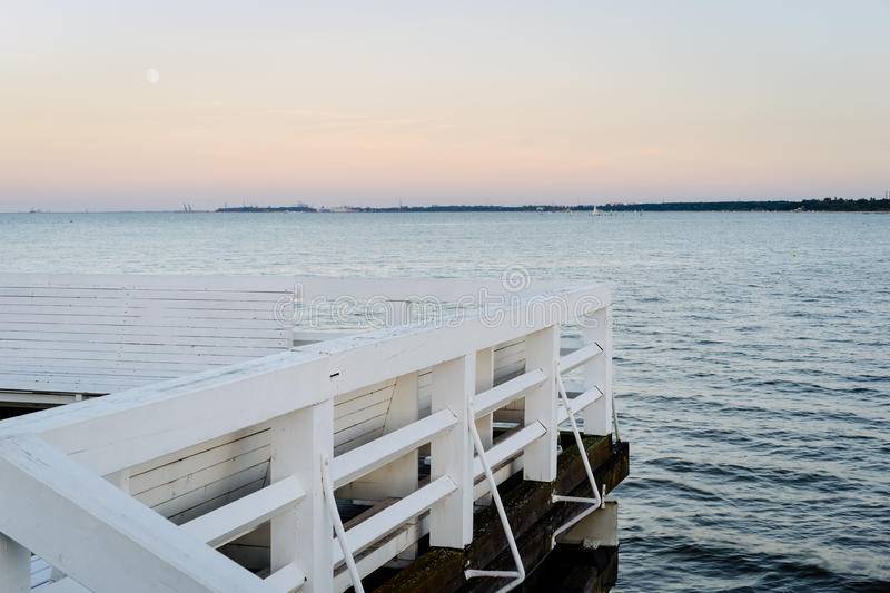 Gdansk Bay, Baltic. Gdansk Bay in the evening viewed from Sopot Pier, Pomeranian, Poland royalty free stock photo