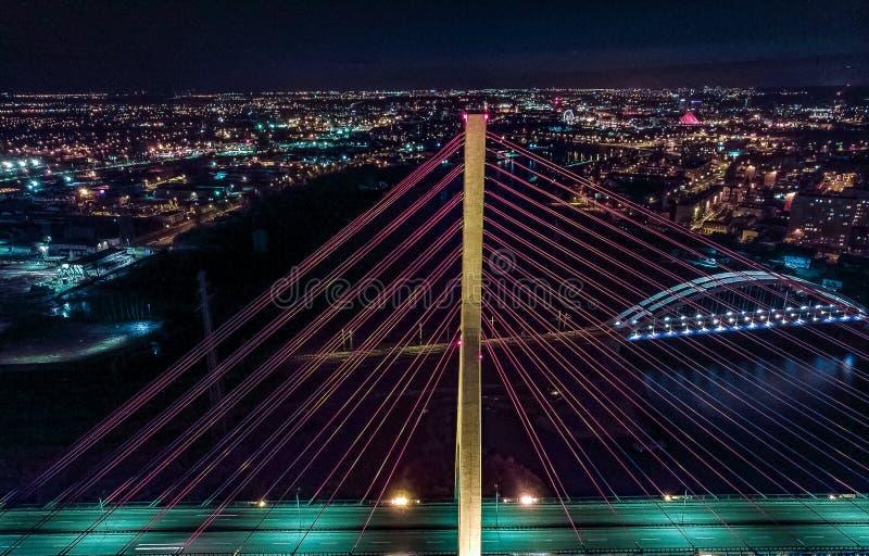 Gdansk belysningbroar arkivfoton