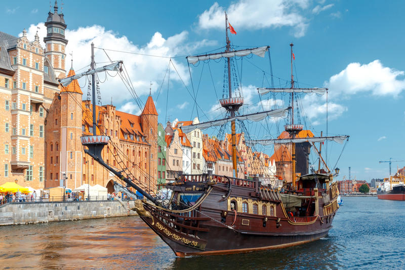 gdansk Cais da cidade central foto de stock