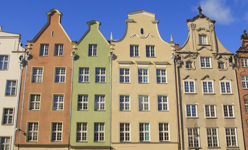 gdansk Calle de la cerveza Casas en estilo barroco fotos de archivo libres de regalías