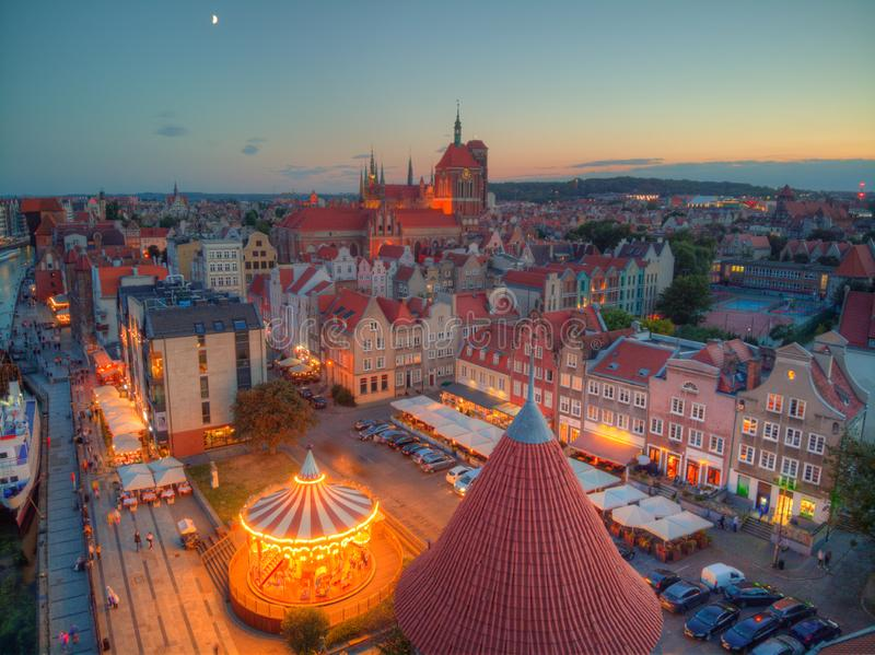Gdansk city at evening royalty free stock photography
