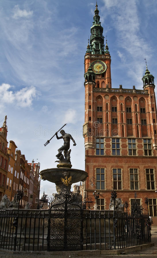 Gdansk City Hall And Neptune Royalty Free Stock Photos