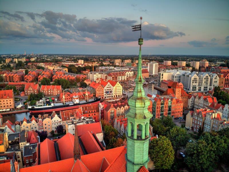 Gdansk city and marina from above. Gdansk city view and cental marina from above stock images