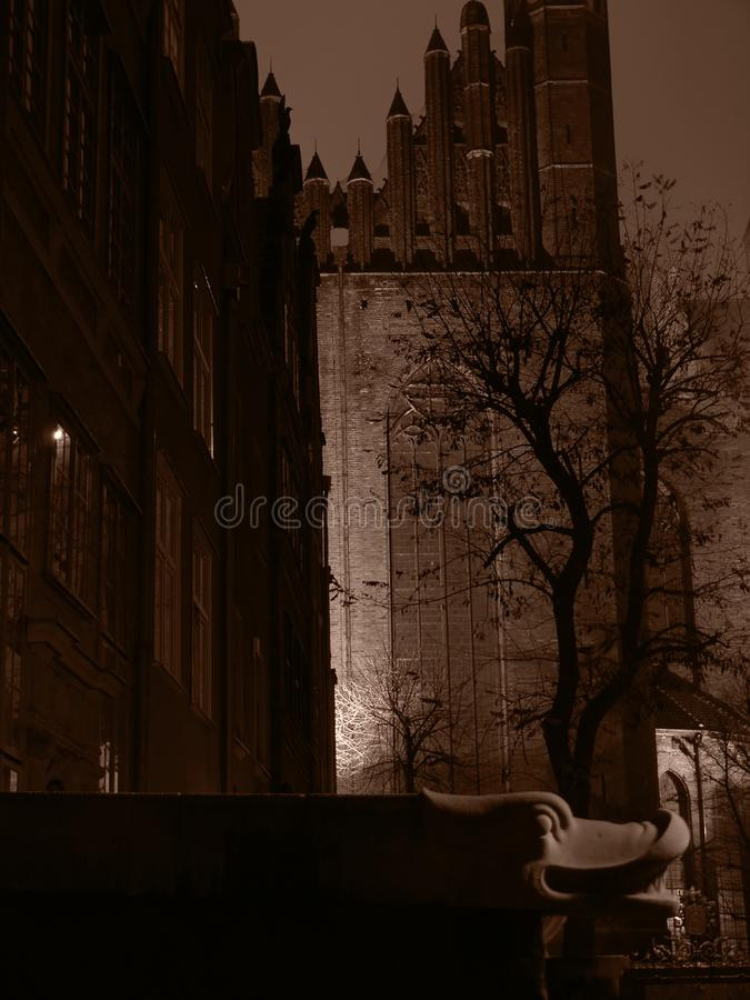 Gdansk City at night stock photography
