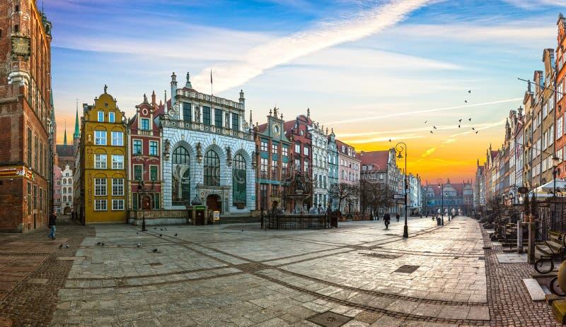 Gdansk city on sunrise. Old town of Gdansk at sunrise, Poland stock images