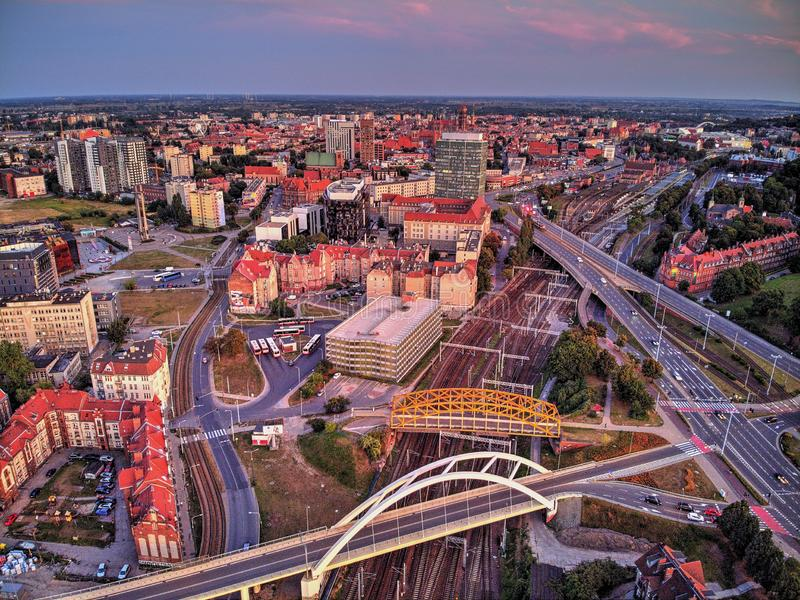 Gdansk city view at evening. Gdansk city at evening from above royalty free stock images