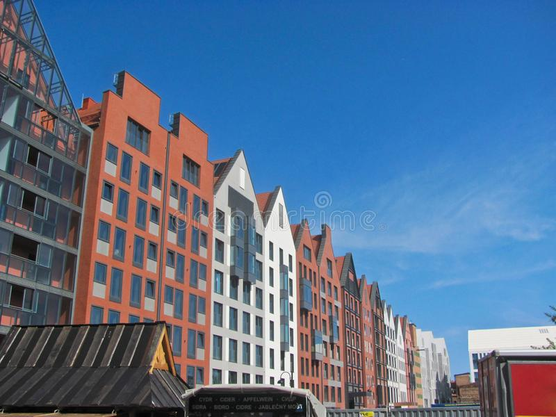 11 August, 2019, Gdansk, Poland. Gdansk cityscape, Poland, Polish new old architecture, touristic view. Gdansk cityscape, Poland, Polish new old architecture stock image