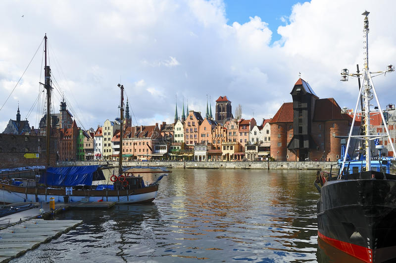 Gdansk (danzig) in Poland. Boats in gdansk (danzig) harbor in poland stock photos
