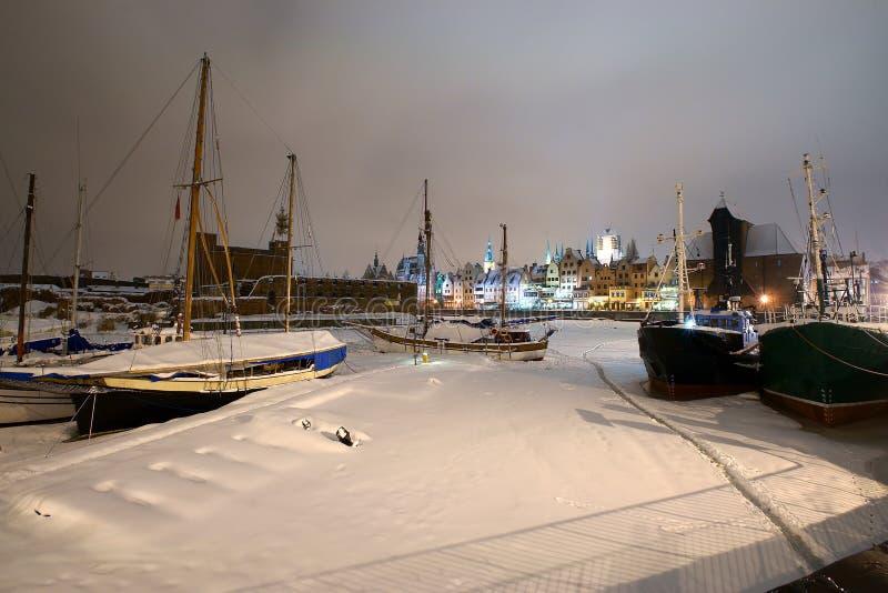 Gdansk In De Sneeuw Stock Afbeelding