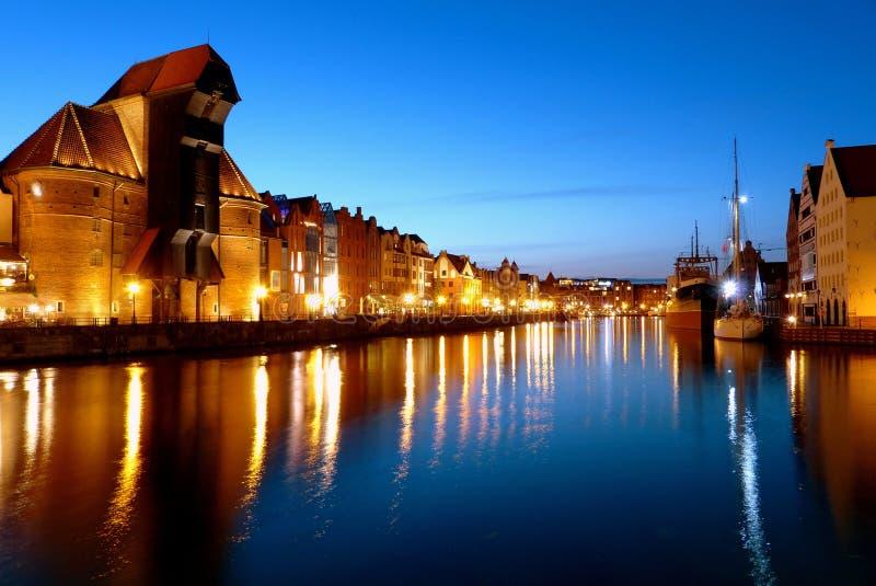 Gdansk en la noche fotos de archivo libres de regalías