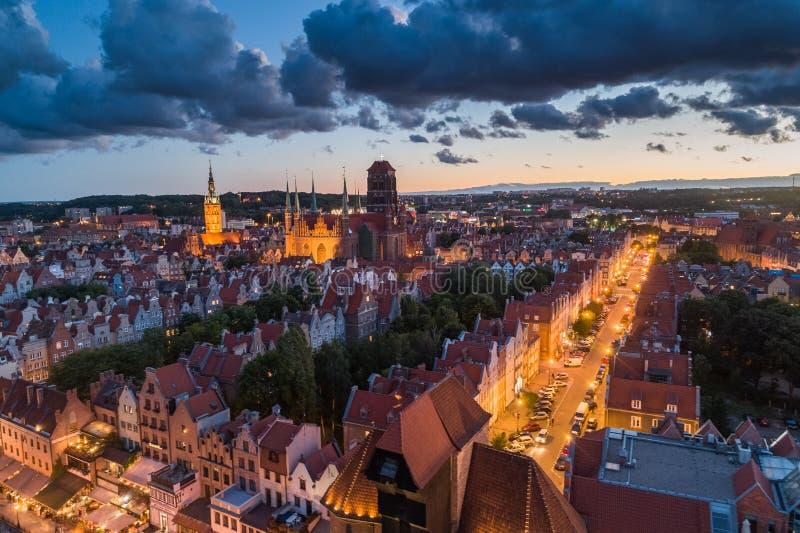 Gdansk flyg- sikt royaltyfri fotografi