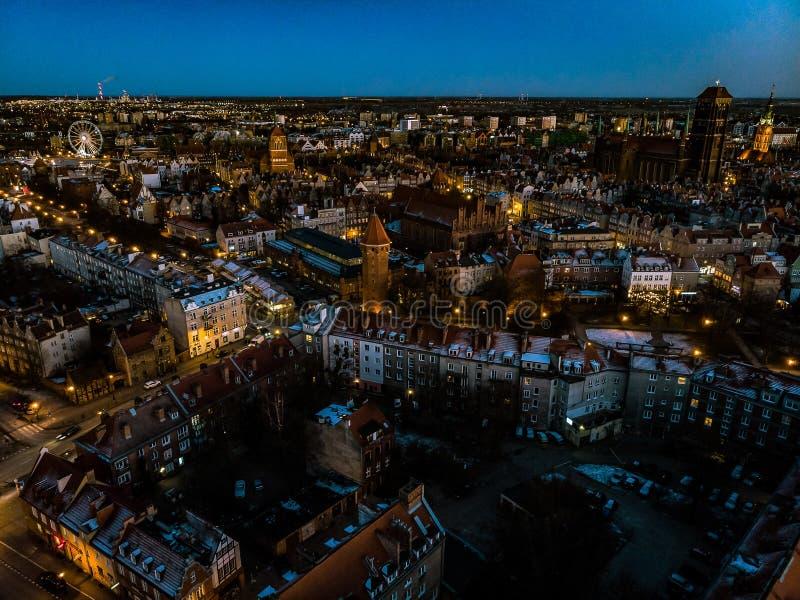 Gdansk gammal stad från över royaltyfria bilder