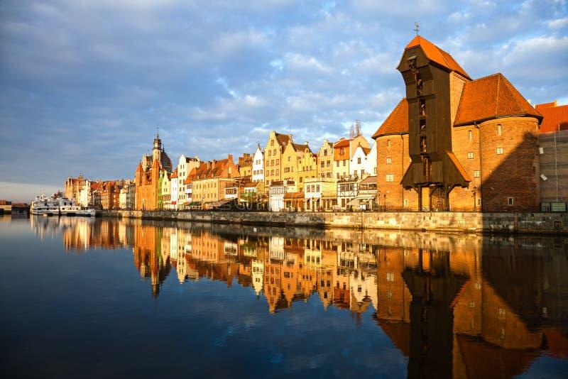 Gdansk i morgonljuset arkivfoto