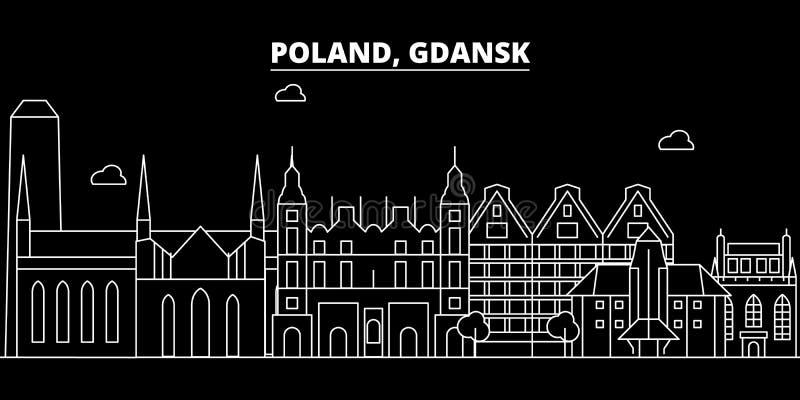 Gdansk konturhorisont Polen - Gdansk vektorstad, polsk linjär arkitektur, byggnader Gdansk lopp royaltyfri illustrationer