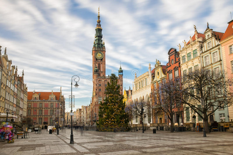 Gdansk Long Market. Long Market Street in Gdansk. On the background Town Hall. Poland. Europe royalty free stock photography