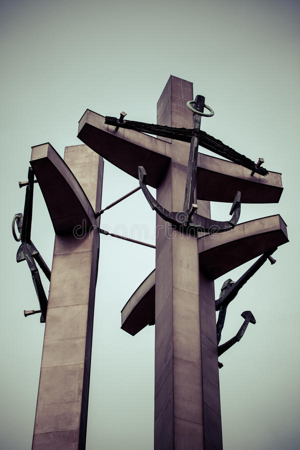 Gdansk monument to the fallen shipyard workers. royalty free stock photography