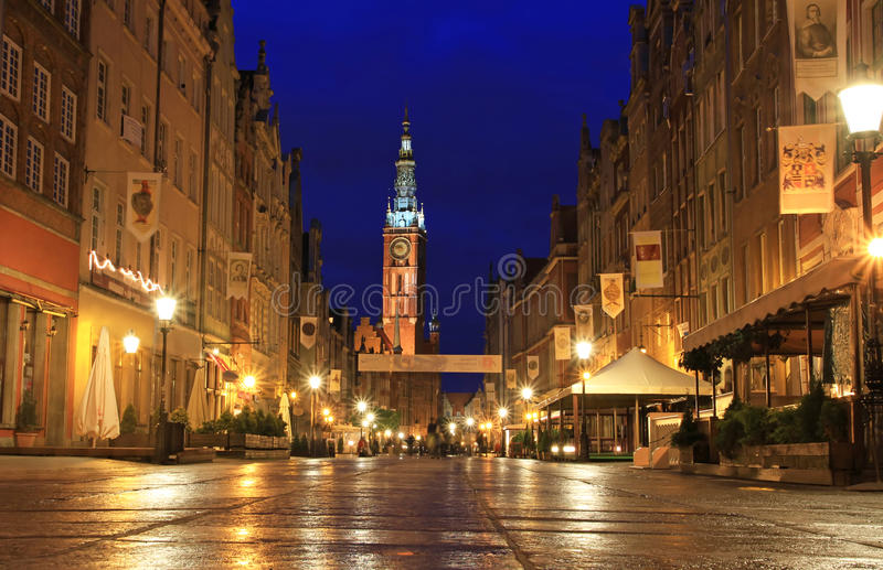 Gdansk na noite imagens de stock