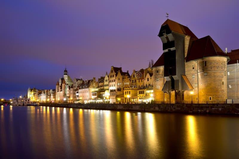 Gdansk na noite foto de stock