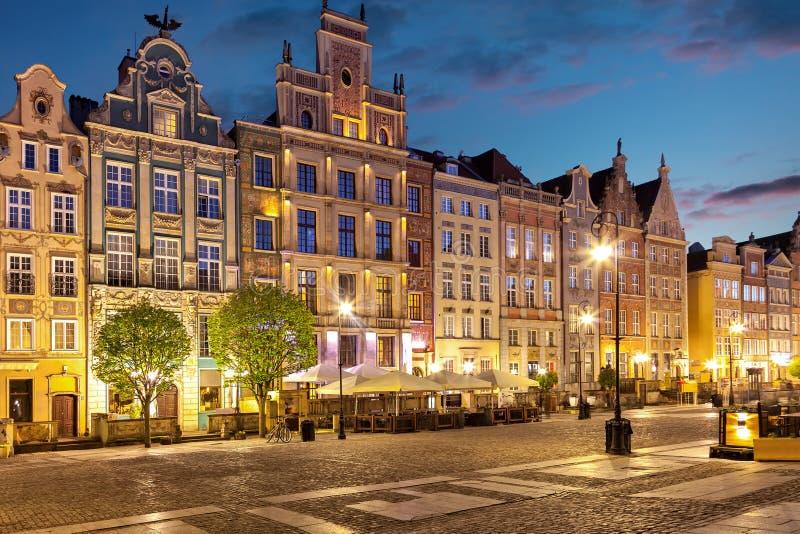 Gdansk na noite fotos de stock