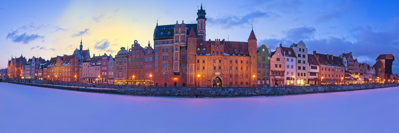 Gdansk na noite - Polônia imagens de stock