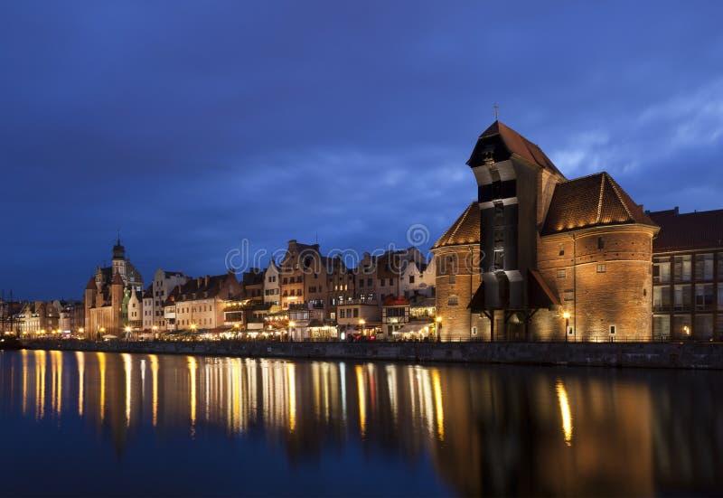 Gdansk na noite, Polônia foto de stock