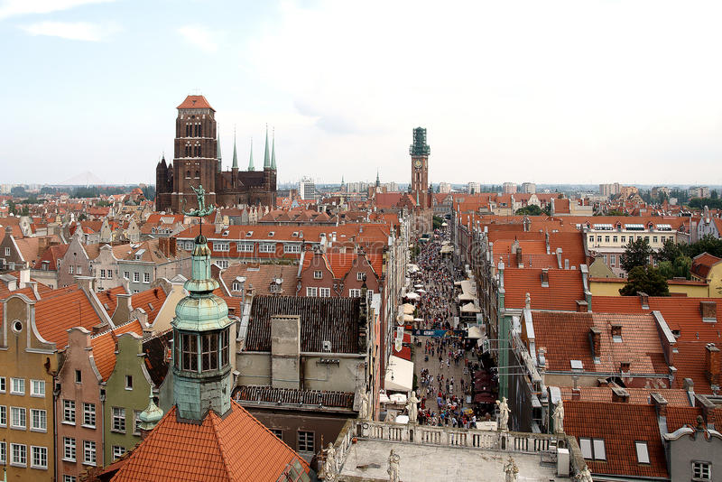 Gdansk nas nuvens foto de stock