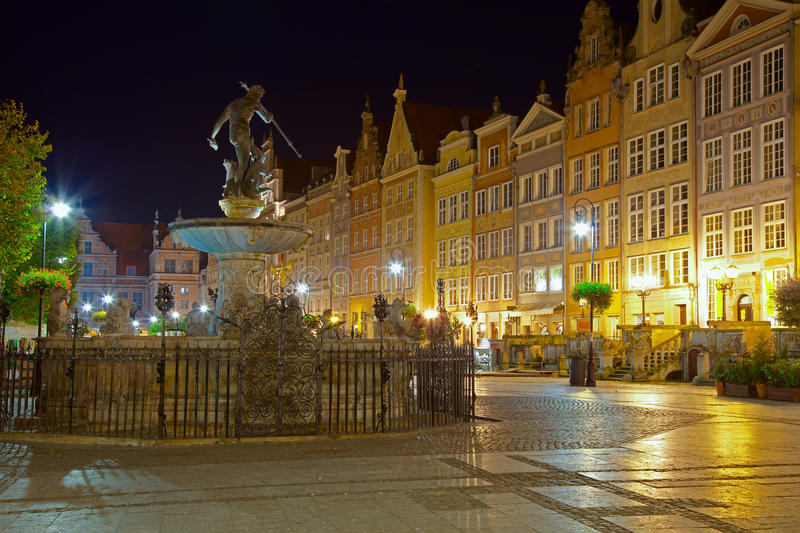 Download Gdansk by night stock image. Image of neptune, design - 21461239