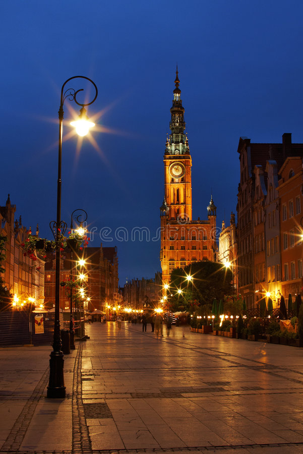 Download Gdansk at night stock photo. Image of poland, town, europe - 8534956
