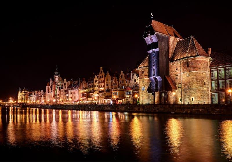 Gdansk night scenery. With Krantor royalty free stock photo