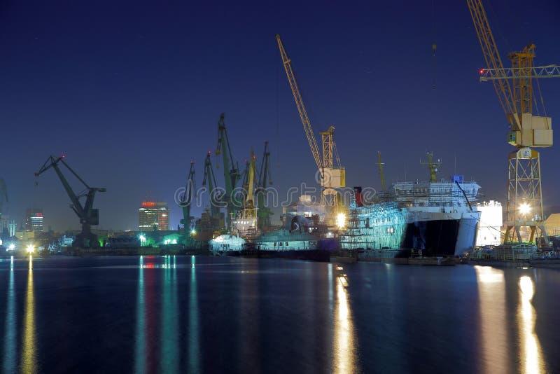 gdansk noc stocznia fotografia royalty free