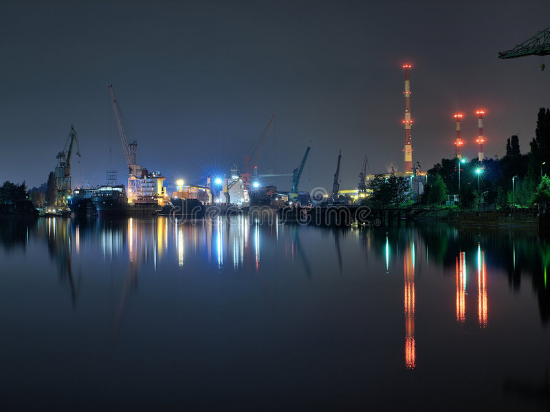 gdansk noc stocznia fotografia stock