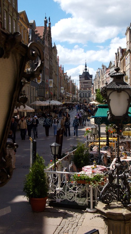 Gdansk old city. Th eold part of gdansk city with cafes and shops stock photos