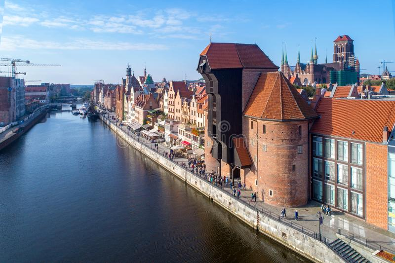 Gdansk old city, Poland. Aerial view with old crane and river stock photo
