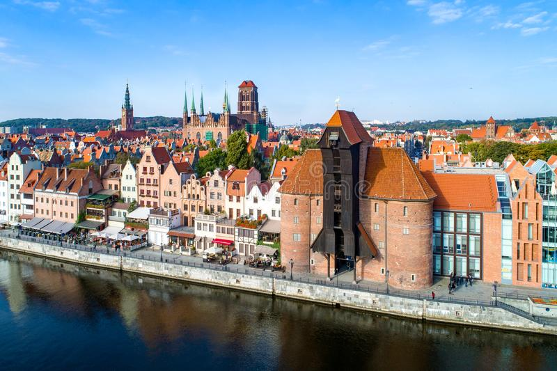 Gdansk old city, Poland. Aerial view. stock photos