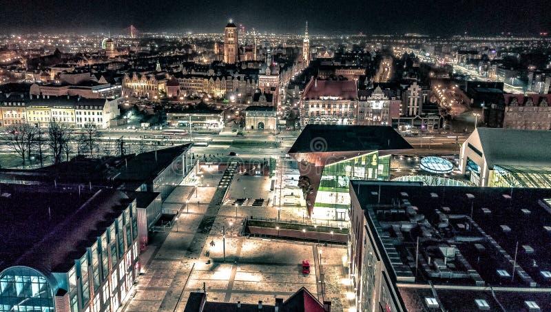 Gdansk Old and new. Gdansk old new architecture citylights citylightsatnight oldarchitecture oldandnew gdanskcityforum citylife landscape cityscape modern royalty free stock photo
