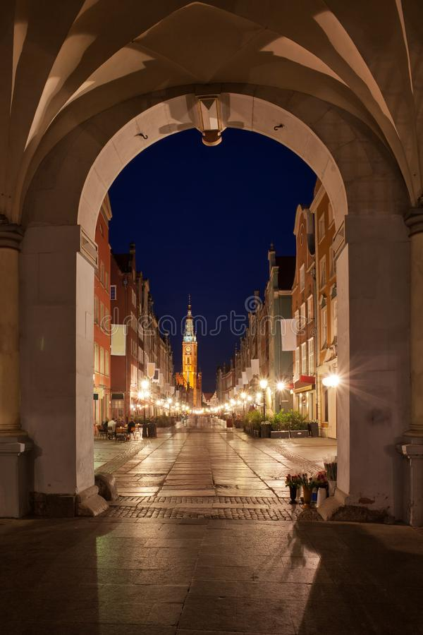 Gdansk Old Town At Night From The Golden Gate stock images