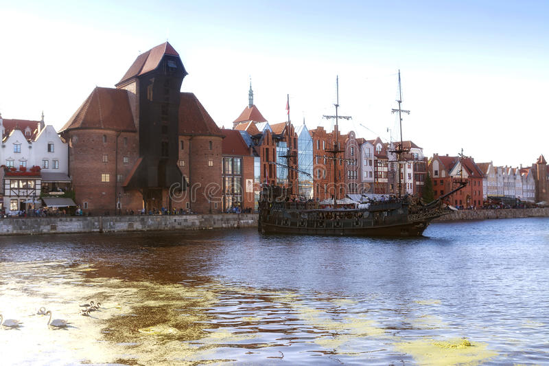2016-07-20, Gdansk old town, Poland, beautiful evening, view to the old town, Gdansk old town background, classic boat, old boat. stock image