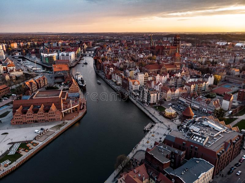 Gdansk panorama from above. Gdansk panorama above city citylife oldarchitecture historical oldbuildings river wateraerial carousel evening brighting royalty free stock image